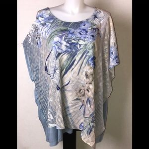 NEW NWT CATHERINES floral poncho TOP Tunic 5X